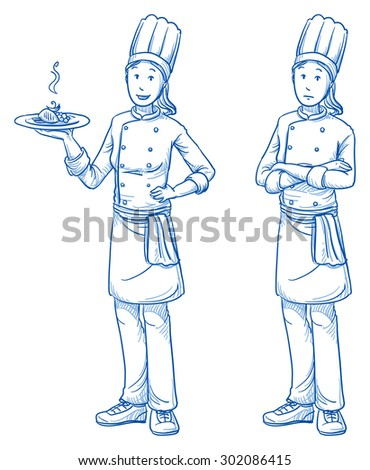 Happy and sad young female cook chef with a fresh meal in one hand, in two emotions. Hand drawn cartoon doodle vector illustration.