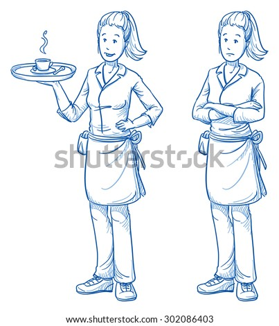 Happy and sad young female waitress with a fresh coffee in one hand, in two emotions. Hand drawn cartoon doodle vector illustration.