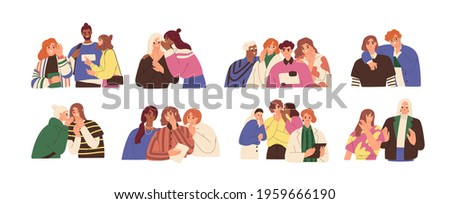 Happy and unhappy people gossiping, whispering in ear, slandering, spreading secrets, rumors, confidential information and news. Colored flat graphic vector illustration isolated on white background Сток-фото ©