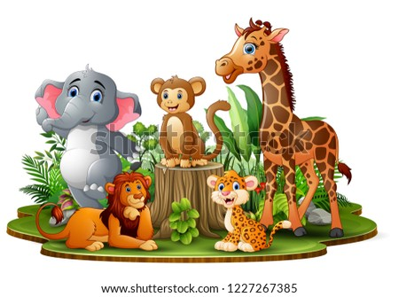 happy animals cartoon in the