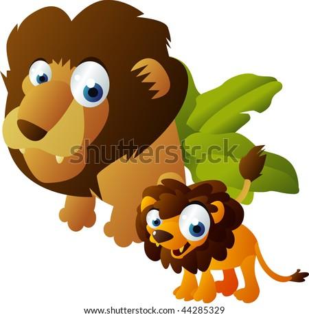 happy animals family: lion