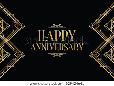 happy anniversary art deco invitation