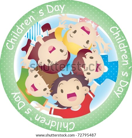 Happy Anniversary day with cheerful children isolated on white background : vector illustration
