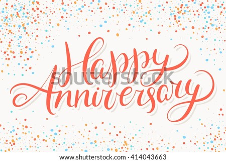 happy anniversary greeting card hand lettering