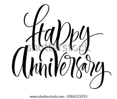 happy anniversary lettering handwritten modern calligraphy brush painted letters vector illustration template