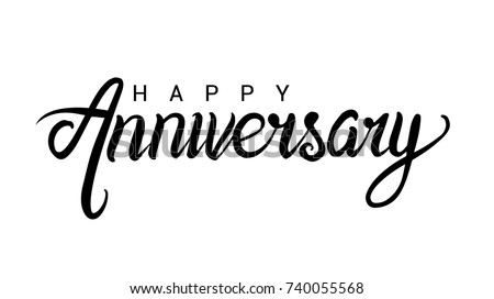 Happy Anniversary lettering text banner, black color. Vector illustration.
