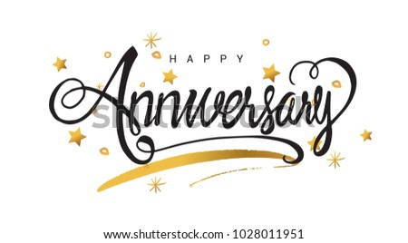 happy anniversary lettering text banner greeting card scratched calligraphy black text word gold stars