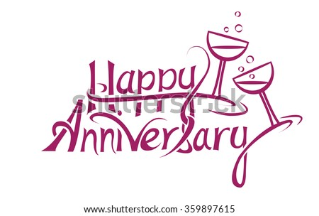 happy anniversary sign letter design