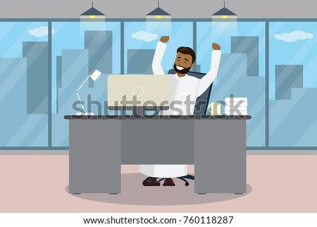 Happy arab businessman is sitting at a table in modern office,concept of success,Flat vector illustration
