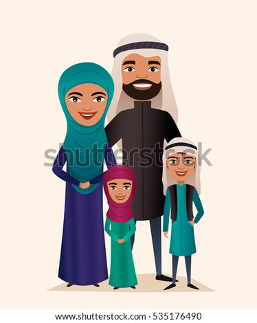 Happy arab family couple with children isolated vector illustration. Husband, wife, daughter and son in national dress. Smiling young people portrait, big happy family with kids standing together.