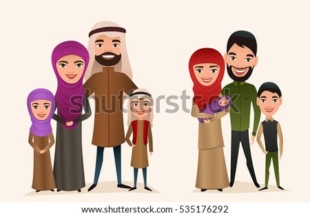 Happy arab family with children set isolated vector illustration. Husband, wife, daughter, son and baby in national dress. Smiling young people portrait, big happy family with kids standing together.