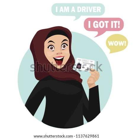 Happy arab muslim saudi woman getting driving license. Cartoon vector illustration. Funny cartoon character. Vector illustration of a flat design