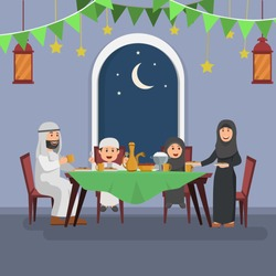 Happy Arabian Family Enjoying Iftar, Eating After Fasting Ramadhan, Flat Vector Illustration