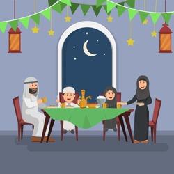 Happy Arabian Family Enjoying Iftar, Eating After Fasting Ramadhan, Flat Vector Illustration