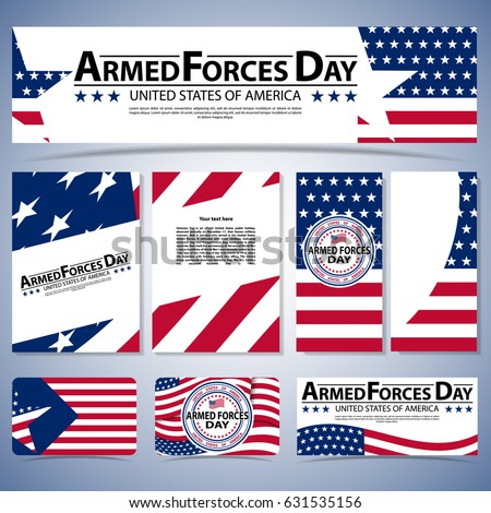 Happy Armed forces day vector greeting card badge labels. Armed forces day template poster design. Vector illustration of background for Armed forces day. Celebration background for Armed Forces Day