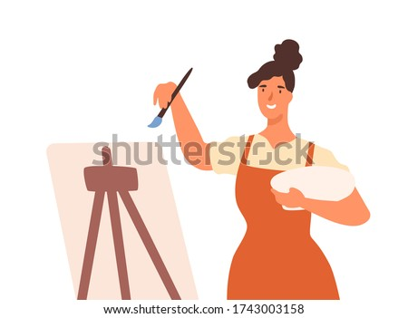 Happy artistic female in apron drawing picture use paint vector flat illustration. Smiling woman professional painter stand in front of easel isolated on white. Girl enjoy art painting at workshop