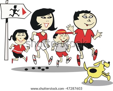 Happy Asian family jogging with dog on exercise trail.