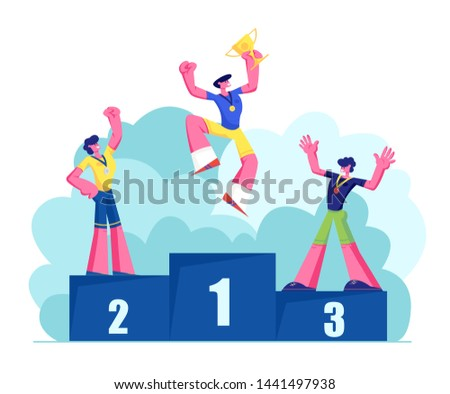 Happy Athletes on Winners Podium with Medals and Cup. Male Characters Sportsmen Stand on Win Pedestal. Victory, Sport Lifestyle, Success Achievement, Sports Trophy. Cartoon Flat Vector Illustration