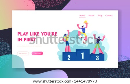 Happy Athletes on Winners Podium with Medals and Cup. Sportsmen on Win Pedestal Celebrating Sport Victory, Success Achievement. Website Landing Page, Web Page. Cartoon Flat Vector Illustration, Banner