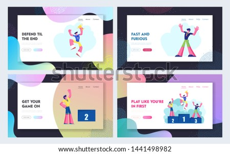 Happy Athletes on Winners Podium with Medals and Cup Website Landing Page Set. Sportsmen Stand on Win Pedestal Celebrating Sport Victory Achievement, Web Page. Cartoon Flat Vector Illustration, Banner