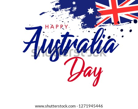 Happy Australia day lettering /calligraphy with flag/map of Australia . Vector illustration - Vector