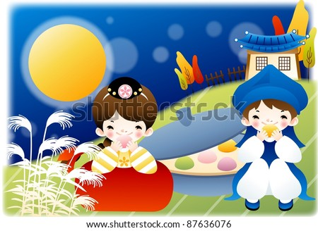Happy Autumn Festivals - lovely smiling young girl and boy with tasty korean traditional rice cakes in country garden on a background of beautiful blue sky, full moon and blur pattern