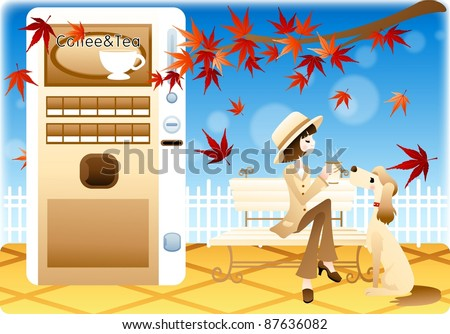 Happy Autumn Story - lovely smiling young woman and cute pet with beautiful maple tree in the park on a background of blue sky and blur pattern