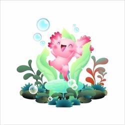 happy axolotl vector illustration, cute pink salamander