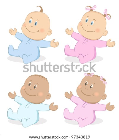 Happy babies boy and girl in blue pink colors. Set 4