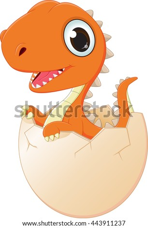 happy baby dinosaur hatching