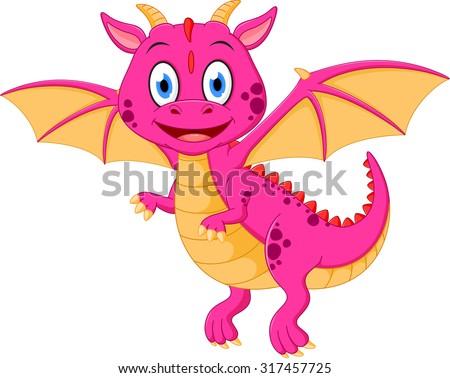 happy baby dragon cartoon