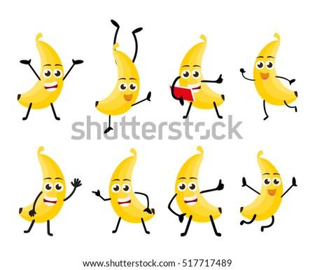 happy banana fruits cartoon