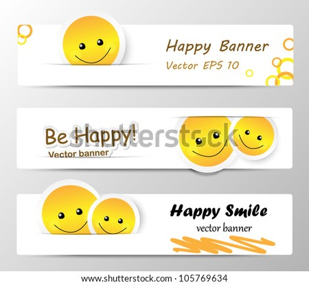 happy banners with cute smilies