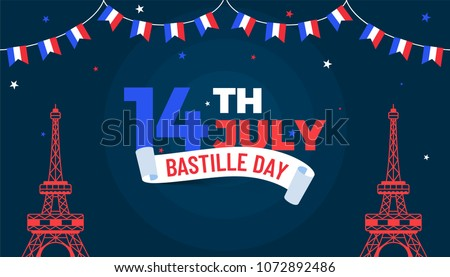 Happy Bastille Day celebration background.