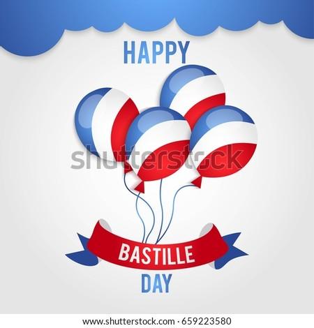 Bastille day greeting template vector download free vector art happy bastille day 14 july viva france national day vector illustration suitable m4hsunfo