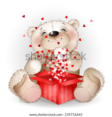 happy bear got in a gift box