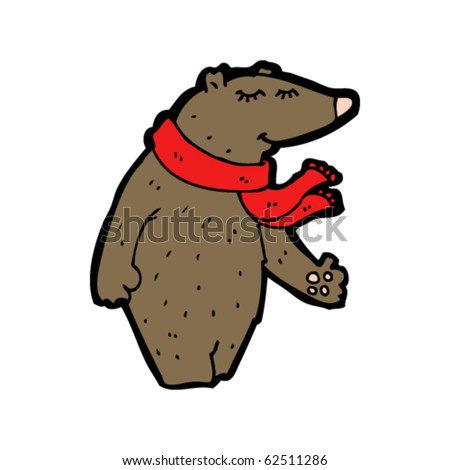happy bear with scarf cartoon