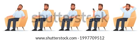 Happy bearded man sits in a chair. Businessman sleeps, works at a laptop, reads news in a smartphone, rejoices. Freelancer. Vector illustration in cartoon style
