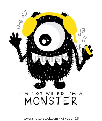 Happy beast monster with headphones / Textile print t shirt graphics vector design