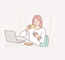 happy beautiful female worker holding hot coffee mug sitting in office and using mobile cell phone viewing online news relaxing. Hand drawn style vector design illustrations.