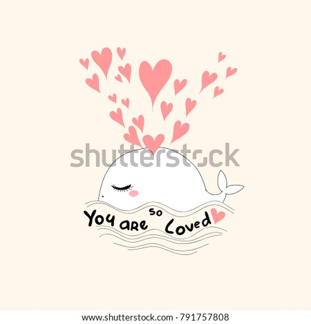 happy beautiful pretty whale with fountain of hearts. pink background. childish girlish artwork with text for summer t-shirts, wall art, embroidery, wear, baby shower etc.