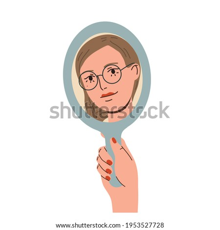 Happy beautiful woman looking in the mirror and smiling. Love yourself, self acceptance concept.  Hand drawn vector colorful funny cartoon style illustration Foto stock ©