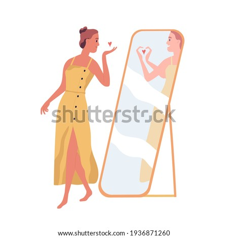 Happy beautiful woman sending air kiss to her mirror reflection. Self-love and acceptance concept. Person with healthy self-perception. Colored flat vector illustration isolated on white background