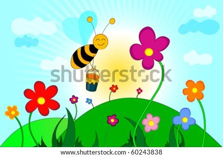 happy bee flying among flowers