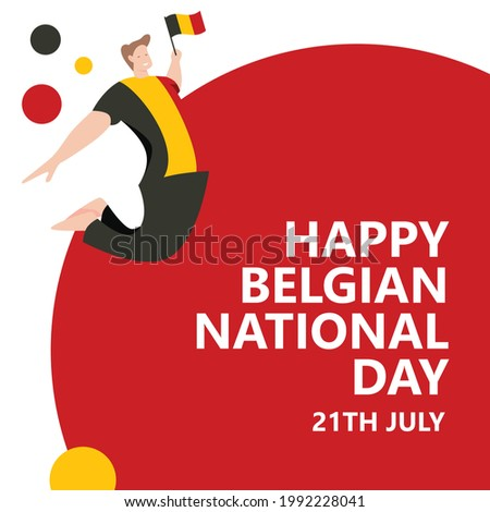 Happy Belgian National Day celebration vector template with a man jumping wearing a Belgian flag shirt. A man cheers for festivity. Сток-фото ©