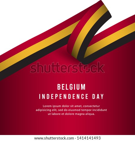 Happy Belgium Independence Day Celebration Poster Vector Template Design Illustration