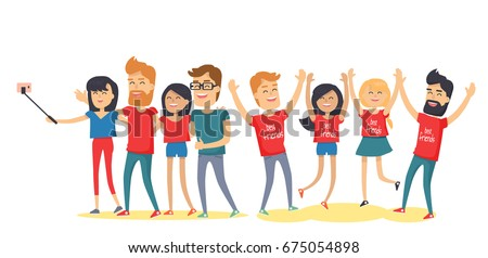 Happy best friends have fun together. Young men and women laughing with raised hands, making selfie flat vector isolated on white. Group of happy people cartoon illustration for friendship day concept