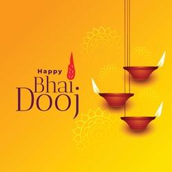 Happy bhai dooj beautiful yellow background card design