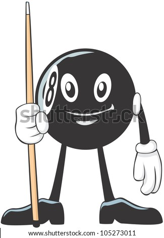 Happy Billiards Eight Ball Player Illustration