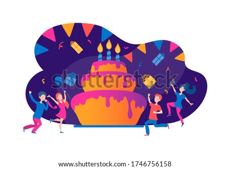 Happy birthday and tasty cake with people vector illustration. Candles and boxes with presents flat style. Fun celebration concept. Isolated on white background